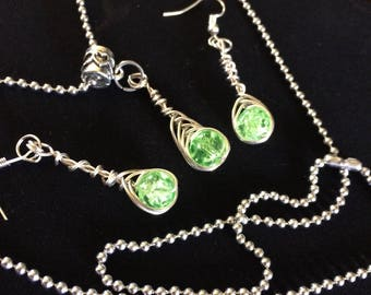 Fresh green Jewelry set Handwrap with chain
