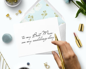 To my best man on my wedding day-DIY Printable best man card-Modern script calligraphy card to best man-Affordable wedding day note cards