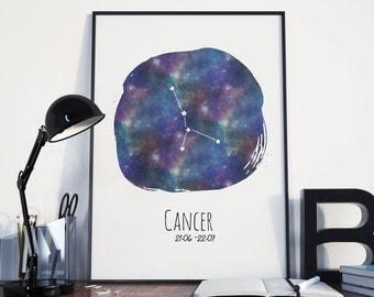 Cancer Constellation Zodiac Nursery Decor | instant download, astrology print, celestial art, watecolour zodiac print, cancer birthday gift