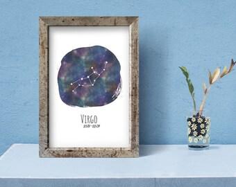 Virgo Printable Art   astrology print, virgo birthday gift, constellation art, instant download, printable art, zodiac art, home decor