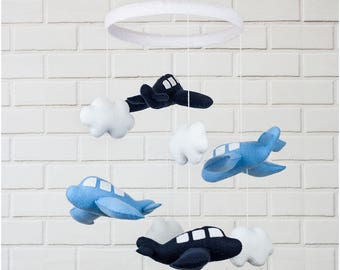 Handmade Felt Baby Nursery Mobile with Blue Airplanes and Clouds Perfect Gift