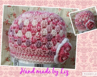 Baby hat with flower crochet handmade