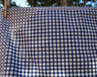 Vintage Blue and White Gingham Tablecloth with White Cross Stitch and Ric Rac