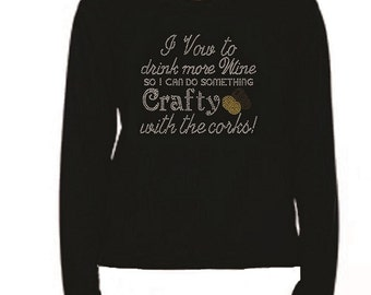 Rhinestone Drink More Wine 55 T Shirt                                                                          LR NLBF