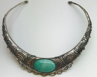 Sterling Silver & Turquoise Collar Necklace