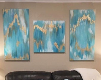 Turquoise Gold Leaf Blue Brown Abstract Canvas Art