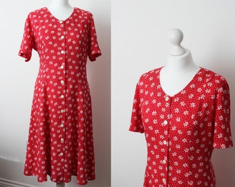 Vintage 90s red floral, knee-length dress, size M/L