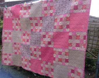 Shades of Pink Crazy Patchwork Junior Bed  Throw Cuddle Quilt
