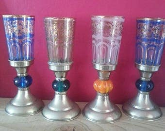 Gorgeous Morrocan style glass goblets. Beautiful colours, Turkish tea glasses or candlesticks. Perfect for summer nights.