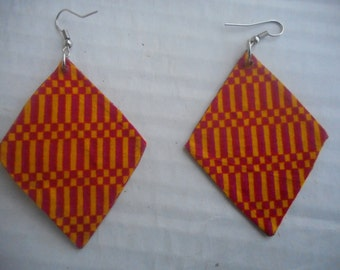 Kite-shaped African Earrings fashioned with African print.