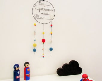 DreamCatcher Even Superheroes need sleep, blue, yellow and red, catcher dream wire, wood and wool and fabric beads Liberty