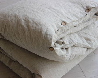 Linen Duvet Cover Stone Washed Organic Softened Comfortable 100% Linen Twin Double Full King CalKing Queen AU sizes Natural Colors Flax