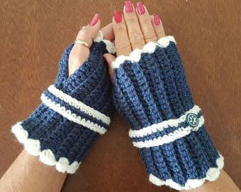 Crotchet Blue Fingerless Mitts