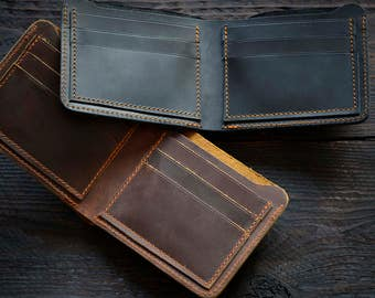 Vintage mens wallet, Brown leather wallet, Black leather wallet, Mens gift, Slim wallet