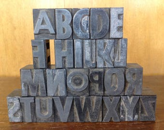"Vintage Metal Letterpress Blocks Alphabet. No ""G"""