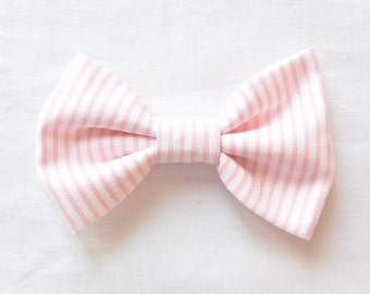 Pink and White Stripe Bow // Headband // Clip