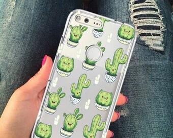Clear pixel case, pixel xl case, cactus case, google pixel case, pixel cactus case, clear cactus case, silicone pixel case, cute,cactus