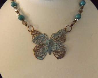 Vintage Style Butterfly Pendant Beaded Necklace