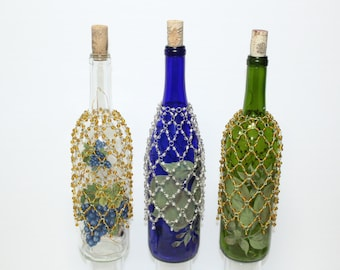 Beautiful Hand & Home Made Light Up Wine Bottles With Copper String LED Lights
