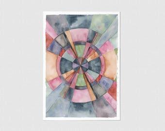 Bullseye Watercolor Blank Greeting Card