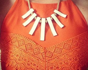 White Statement Necklace, White Bib Necklace, White Droplet Necklace, White Enamel Necklace