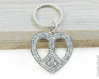 Pendant peace heart with Swarovski element rocks