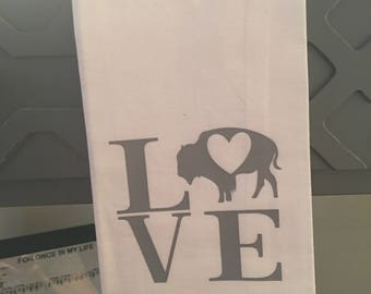LOVE Buffalo Tea Towel