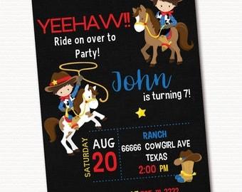 Cowboy Invitation, Cowboy Invite, Cowboy Birthday Invitation,  Personalized Invitation, PRINTABLE