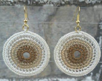 Medium Anita Crochet Earrings- Khaki Blend. Clip-ons upon request.