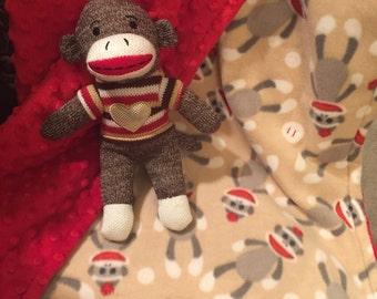 Sock Monkey Minky Blanket - baby gift, toddler gift, minky, hand made