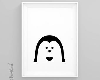 Penguin, Nursery decor, Animal poster, Scandinavian print, peekaboo animal, Black and white, Nursery wall art, Minimal art, Wall art