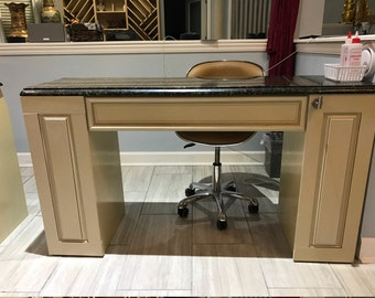High end nail salons station/table single or double solid wood