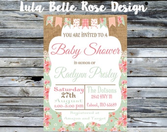 Shabby Chic Baby Shower Invitation, Girl Baby Shower Invitation, Vintage Baby Shower, Shabby Chic Invitation