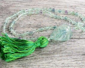 """Fluorite mala necklace with leaf accent - 25"""" inches long - Prayer beads - Handmade tassle"""