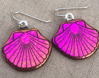 Dichroic Fused Glass Earrings - Pink Yellow Scallop Shell Laser Engraved Etched Earrings with Solid Sterling Ear Wires
