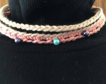 Peaches N Cream Boho Choker Necklace, Hippie Choker,Festival Choker,Beaded Necklace,Eco Friendly Choker,70's style choker