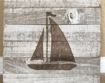 Custom Nautical Sailboat Wood Burning Art