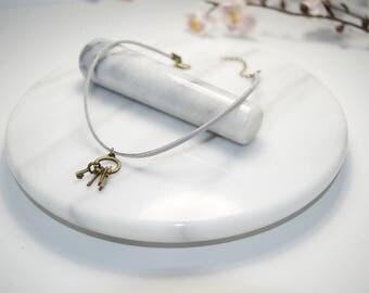 Grey Leather Choker - Key Ring Choker Necklace - Boho Leather Choker Necklace - Minimal Necklace - Boho Necklace