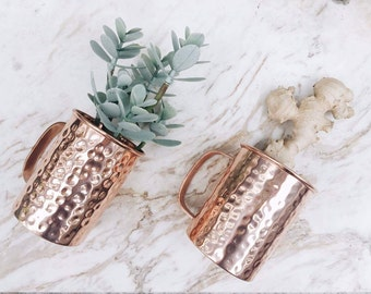 2 Moscow Mule Mugs - Beer Stein Mug - Copper Mugs - 7th Copper Anniversary, Wedding gift, Housewarming gift, Birthday gift - Cocktail Set