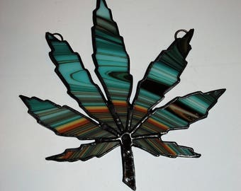 limited edition stained glass marijuanna leaf sun catcher