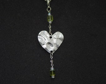 Hammered Heart Necklace Charm