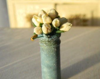 Dollhouse Flowers  Miniature 1:12,  Miniature Milk Can, Yellow Tulips, Rustic,Provence, Country Decor,Vintage Style,Miniature Flower Bouquet