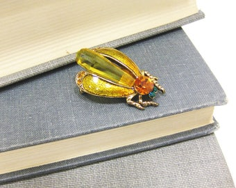 Vintage Amber Colored Crystal and Enamel Gold Tone Fly Pin