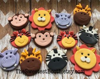 Safari Zoo Jungle Farm Animals Reptiles Cupcake Toppers Fondant Birthday Baby Shower