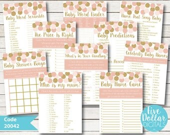 Baby Shower Games Pink And Gold Glitter Effect Digital Files Emailed 5 Games For Only Five Dollars