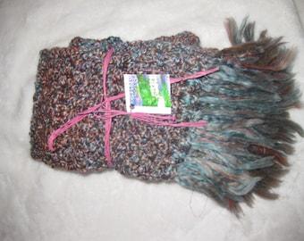 Hand crocheted long scarf.