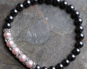Bracelet with black and pink Swarovski crystal pearls, Swarovski crystal mini rondelles, elastic bead cord, B139