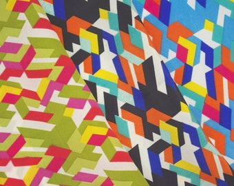Bright Geometric Block Fabric