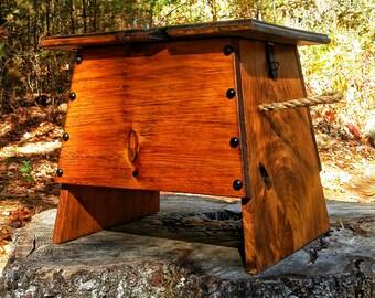 Rustic Foot Stool Box