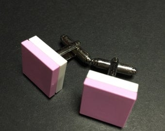 Lego cuff links - Light Pink on White
